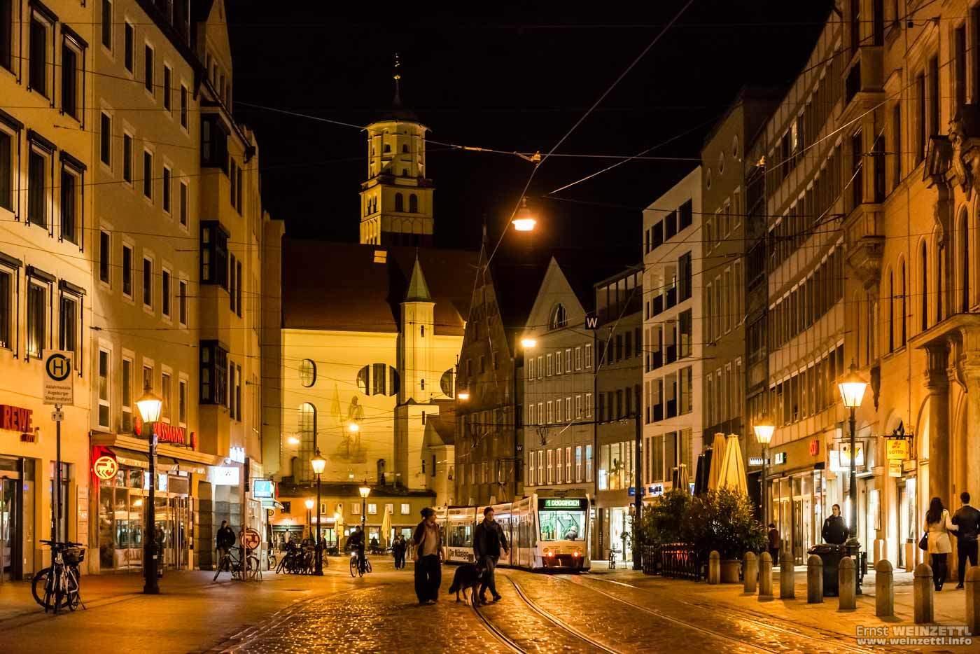 Augsburs Oberstadt bei Nacht