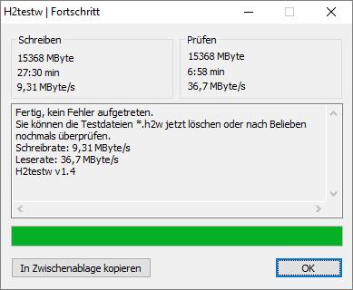MeZmory USB 3.0 Stick: Messung mit H2testw an USB 2.0