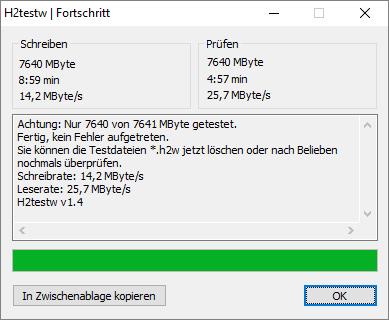 Sony USB 2.0 Stick: Messung mit H2testw an USB 2.0