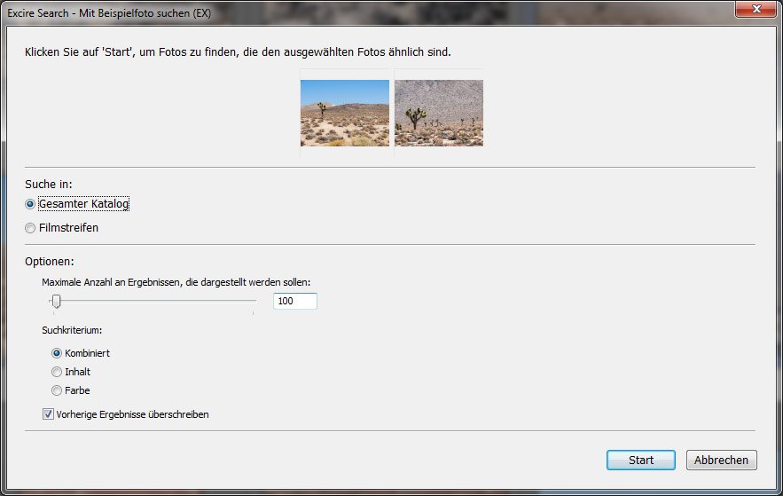 Die Auswahl der Bilder, deren gesuchte ähnlich sein sollen, obliegt dem Benutzer.