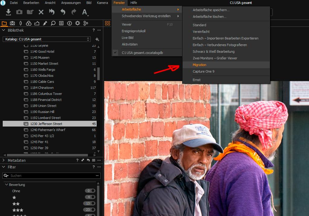 Capture One Migrations-Arbeitsfläche einstellen.