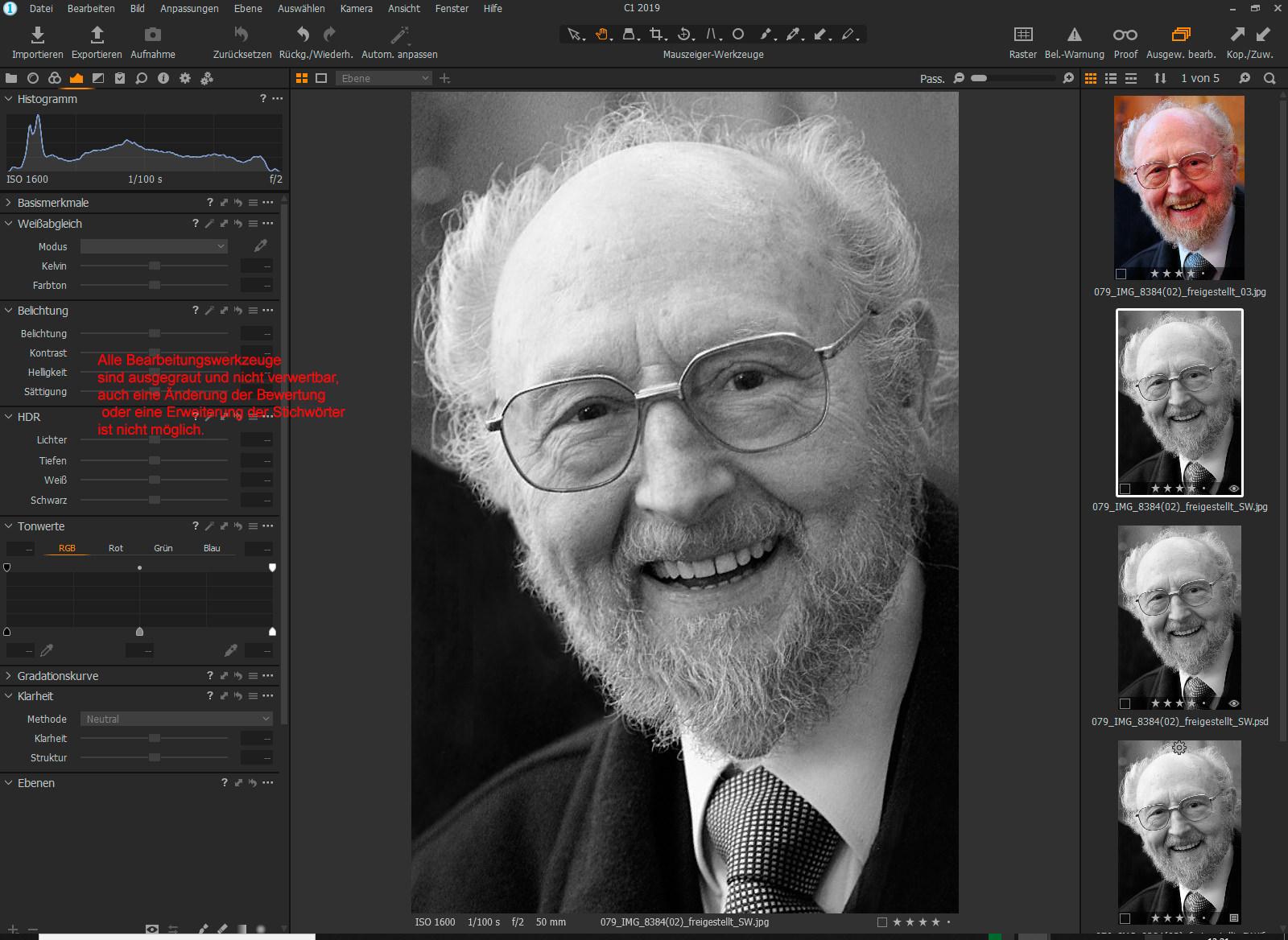 JPEG TIFF können nicht bearbeitet werden.