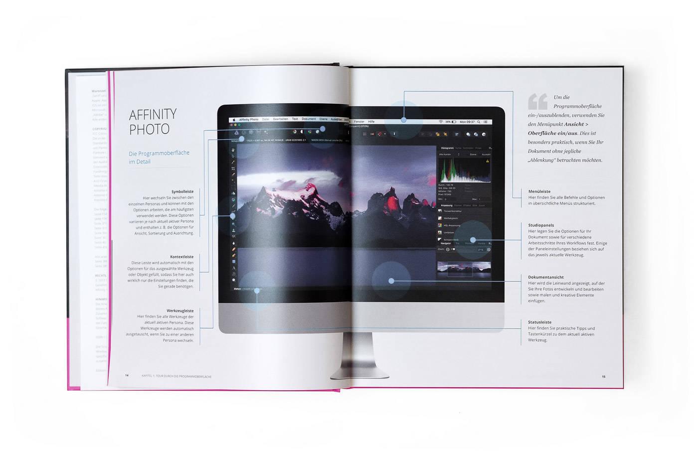 Überblick über die Programmoberfläche von Affinity Photo.